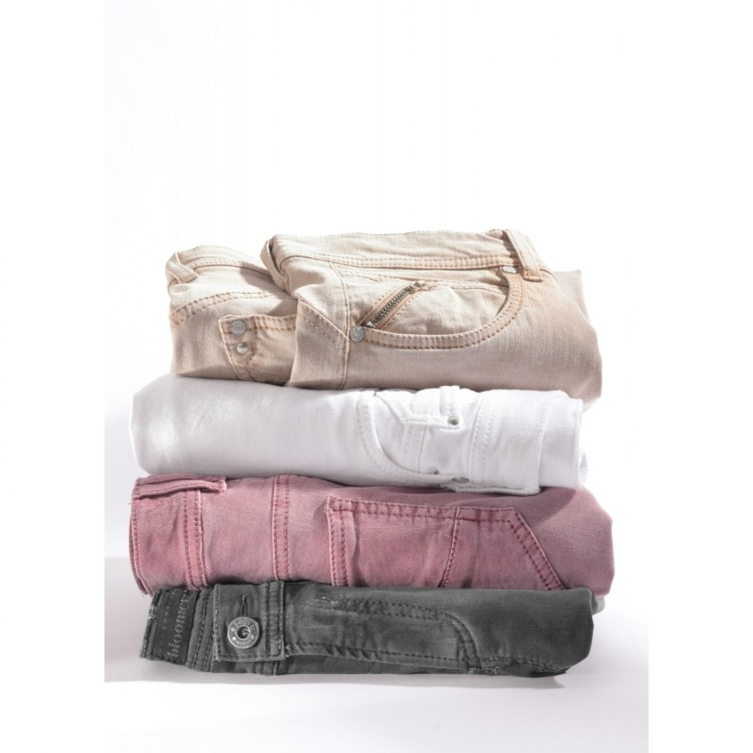 Ankle-length women jeans white, rose, beige Organic Cotton