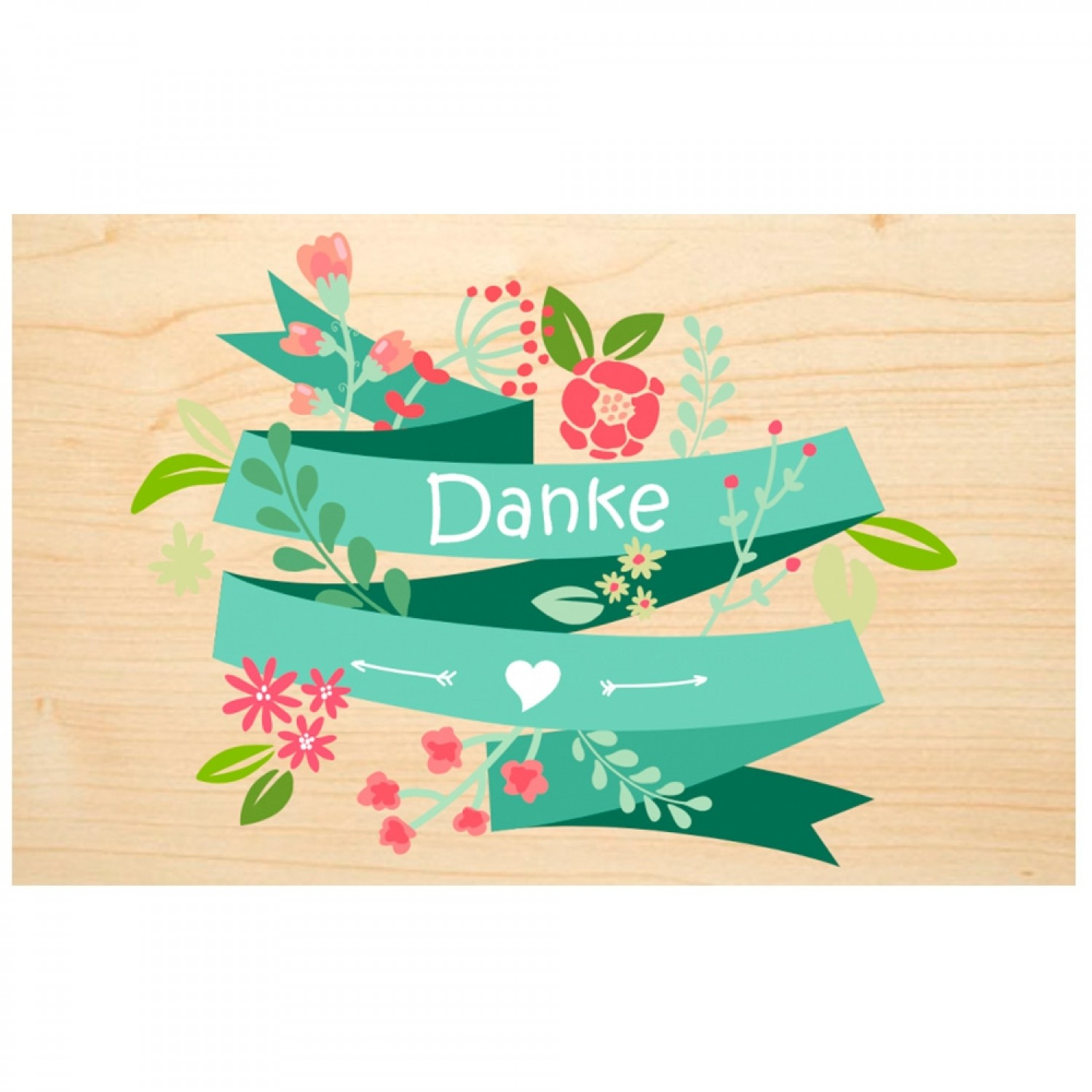 Danke (thank you) wooden postcard - Say it with Nature | Biodora