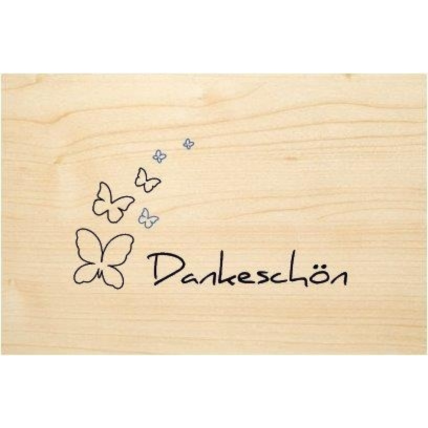 Thank you in German - eco wooden postcard | Biodora