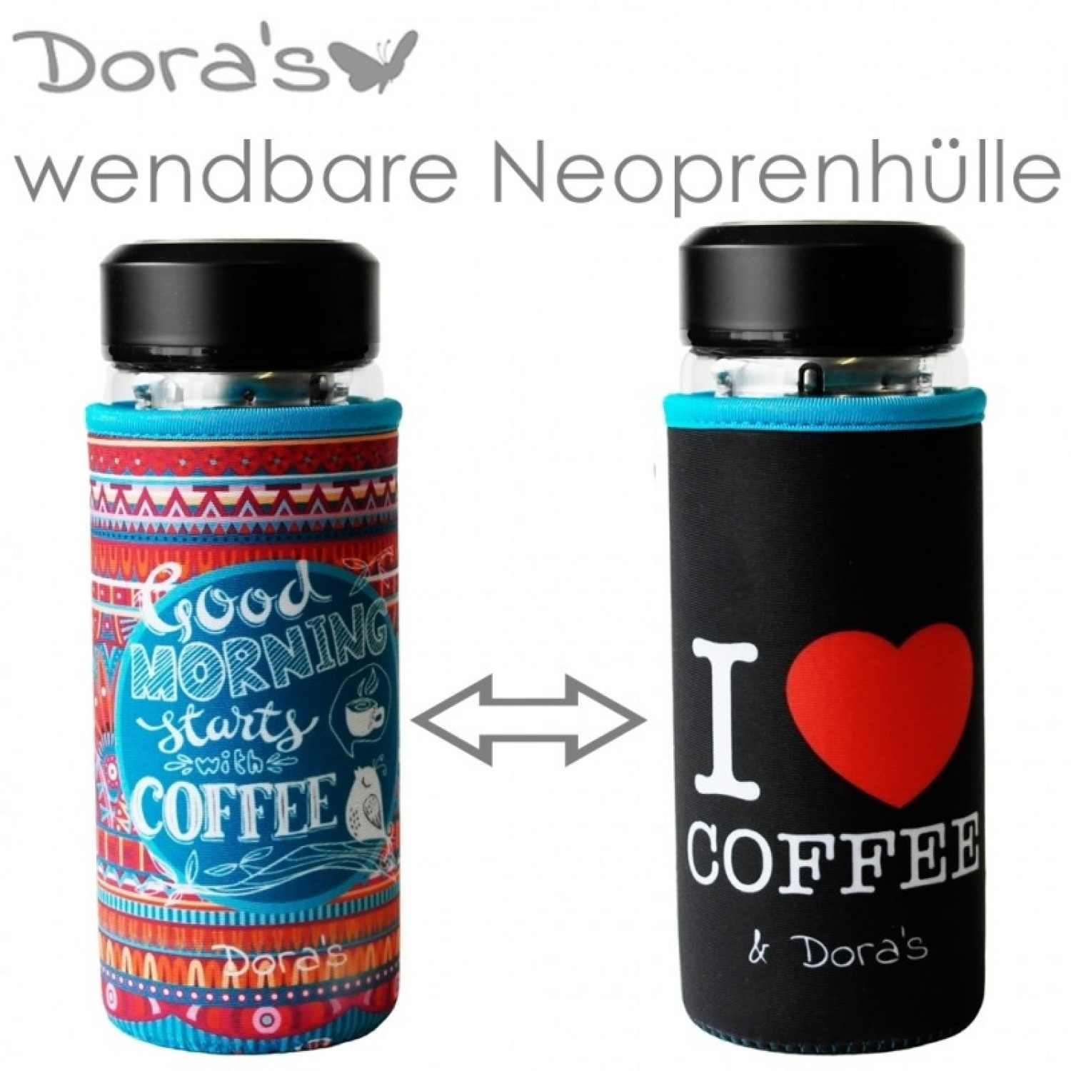 Dora's I love Coffee thermos glass cup with neoprene sleeve