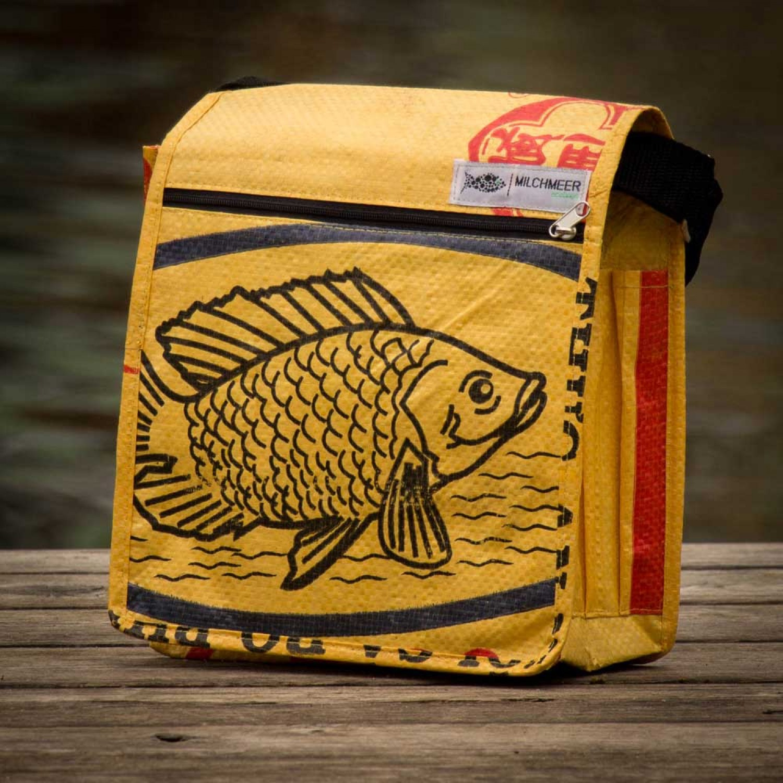 Fair Trade Shoulder Bag - Yellow Fish | milchmeer