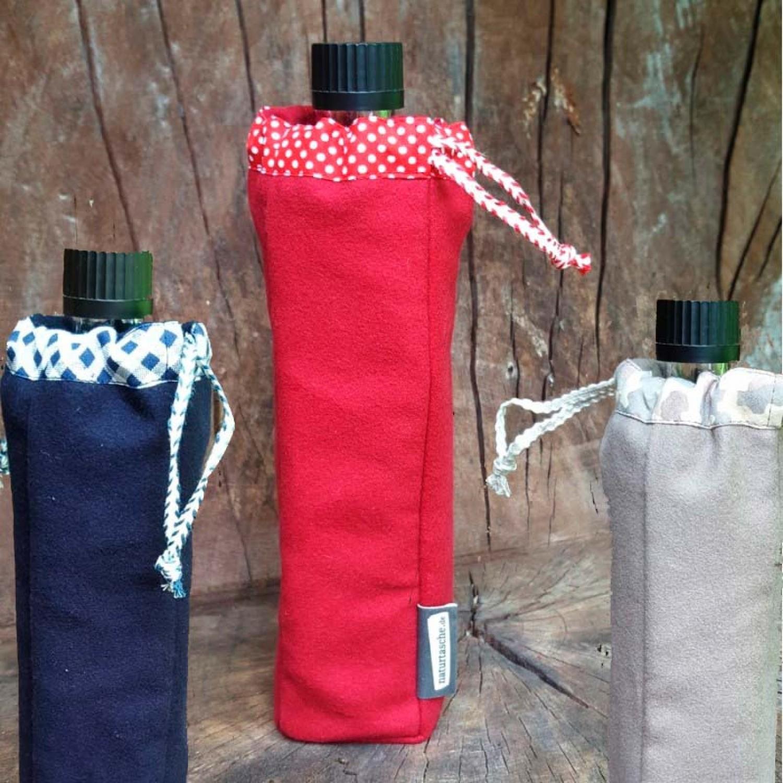 Flaschentasche aus Bio-Baumwolle mit Doras Glasflasche