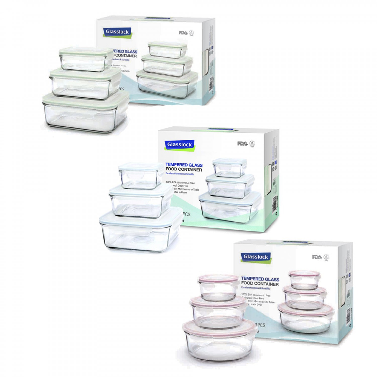 Classic Food Containers 3part Set | GlassLock