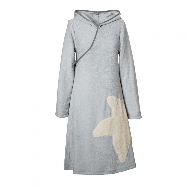 Eco Terrycloth Wrap Dress Women Light Grey | early fish