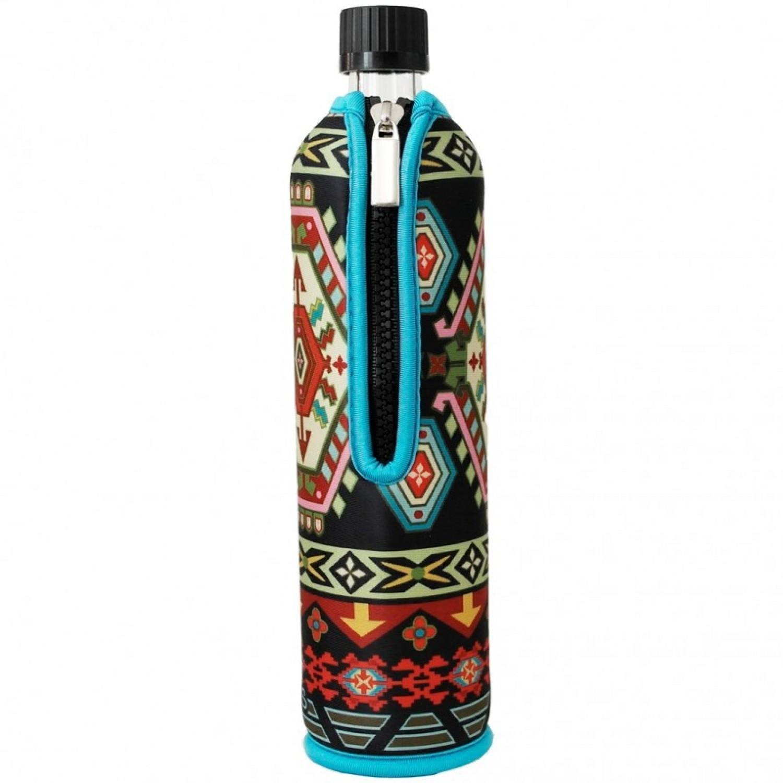 """Dora's Glass Bottle in Neoprene Slipcover """"Ethno"""""""