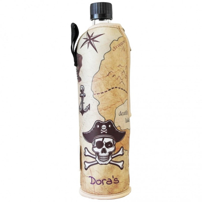 "Dora's Glass Bottle in Neoprene Sleeve ""Pirate"""