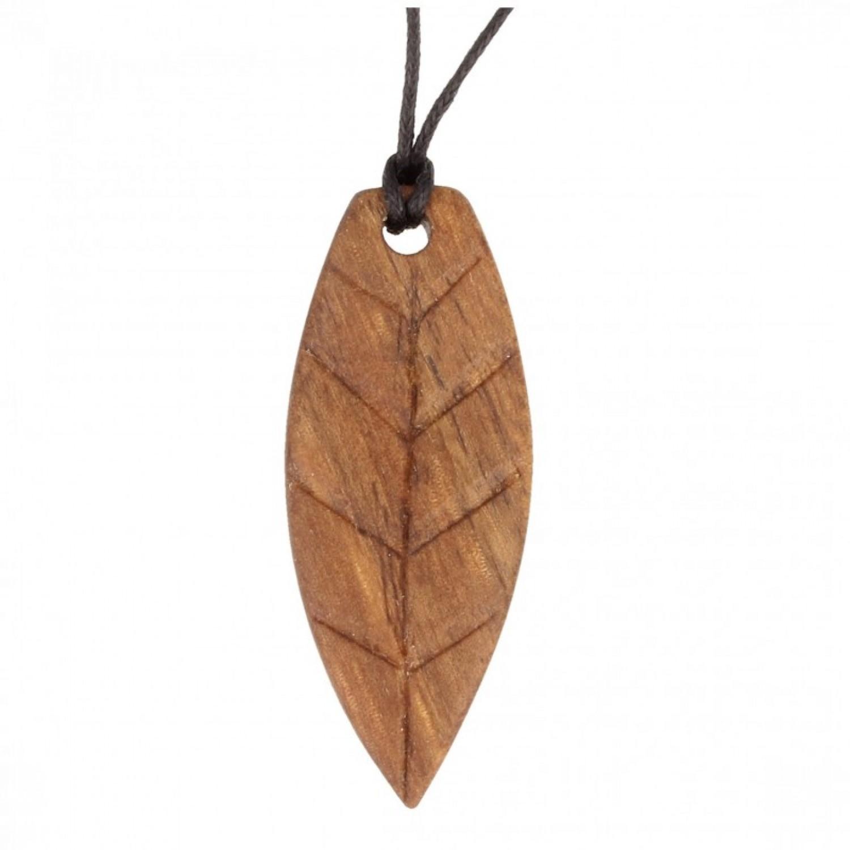 Handgefertigte Walnuss-Blatt Halskette