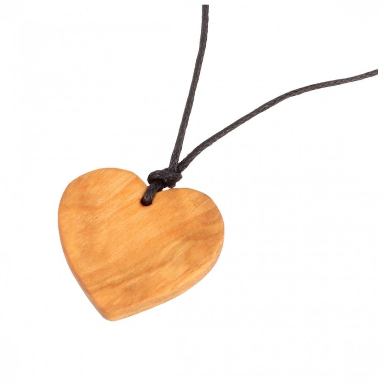 Halskette mit Herz-Anhänger aus Olivenholz