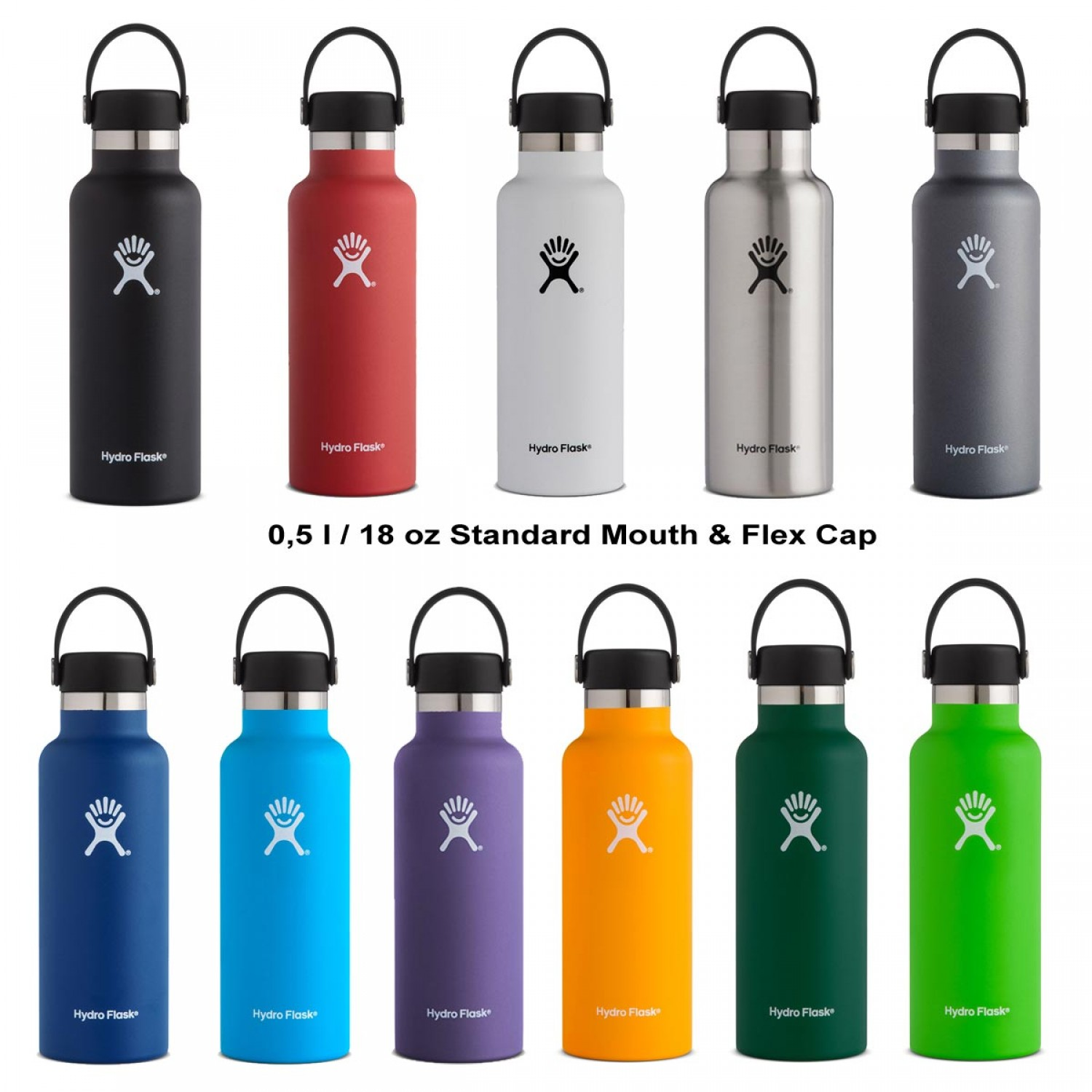 Hydro Flask Insulated Bottle 18oz Standard Mouth & Flex Cap