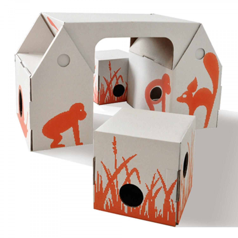 Cardboard Desk And Stools For Children