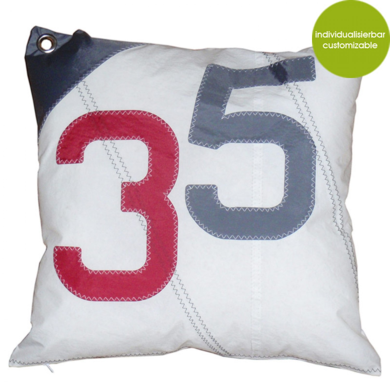 Large Cushion Sail Boat 35, recycled canvas | Marron Rouge