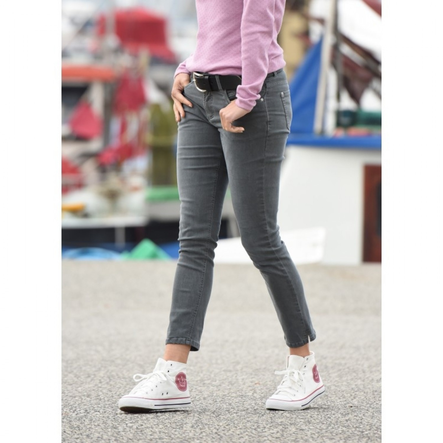 bloomers ankle-length grey women jeans of eco cotton
