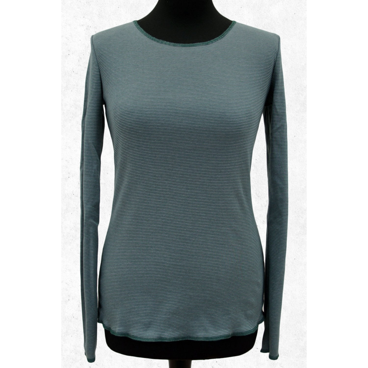 Women Long-sleeved shirt Blue-Green-Grey ringed | Jalfe