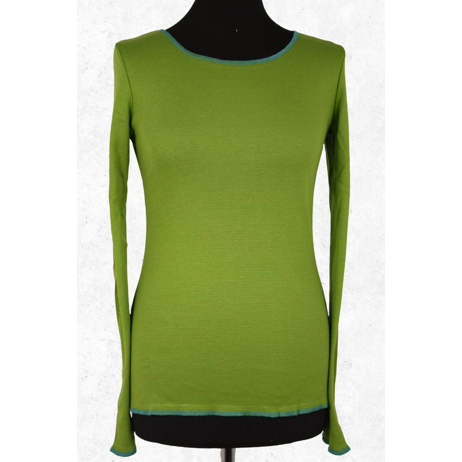 Organic women long-sleeved shirt lime-green striped | Jalfe