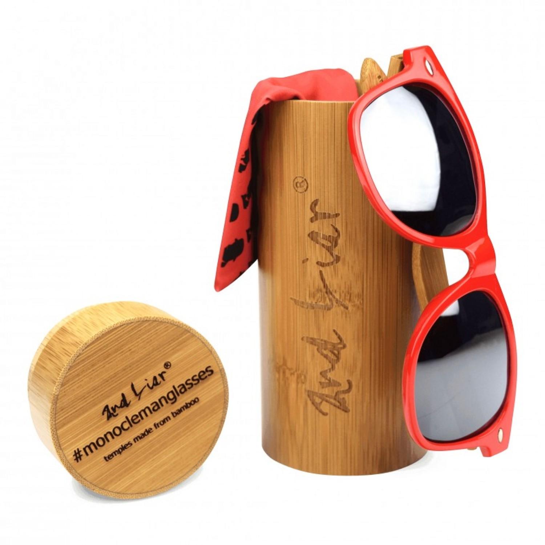 Knallrote Sonnenbrille mit Bügel aus Bambus |
