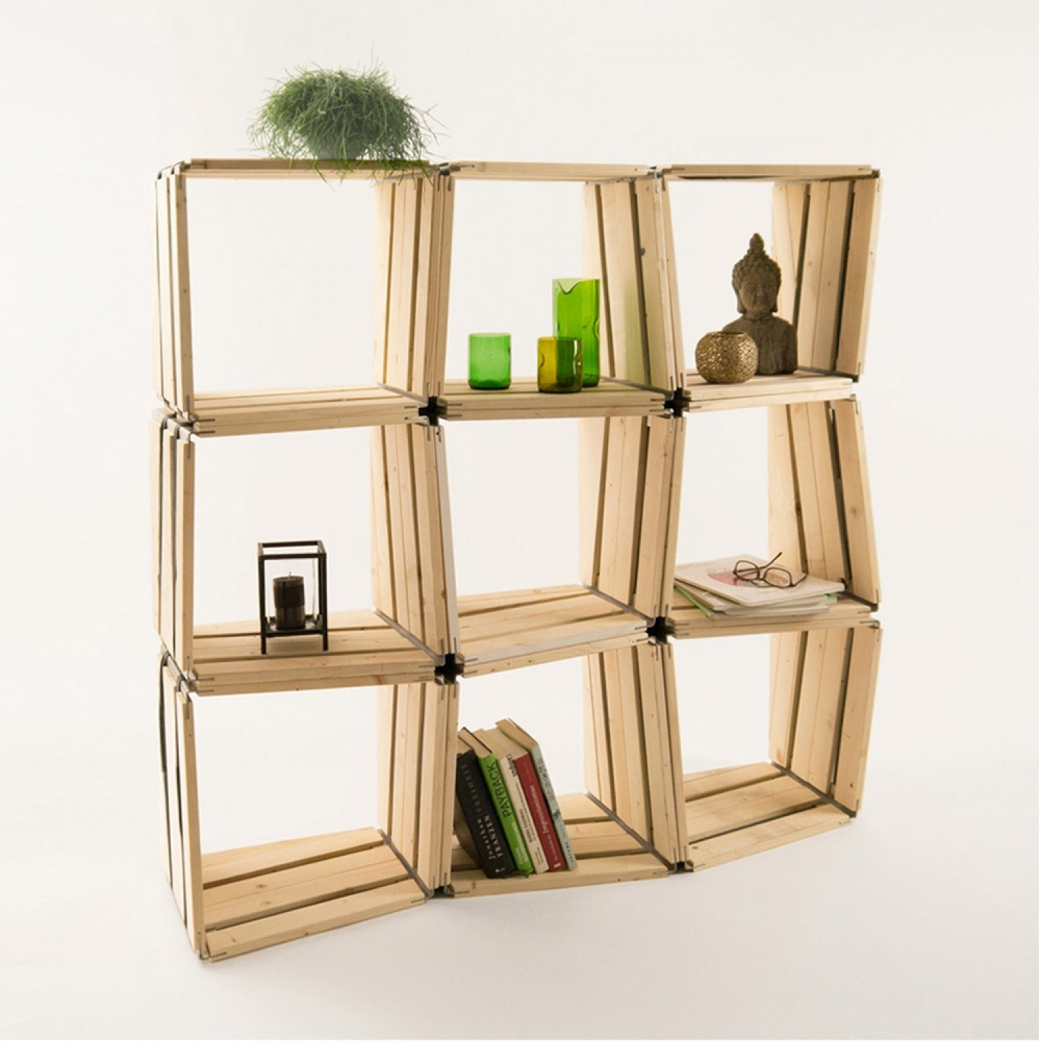 moveo.lxxx upcycled shelf module of wood - 9 pack | reditum