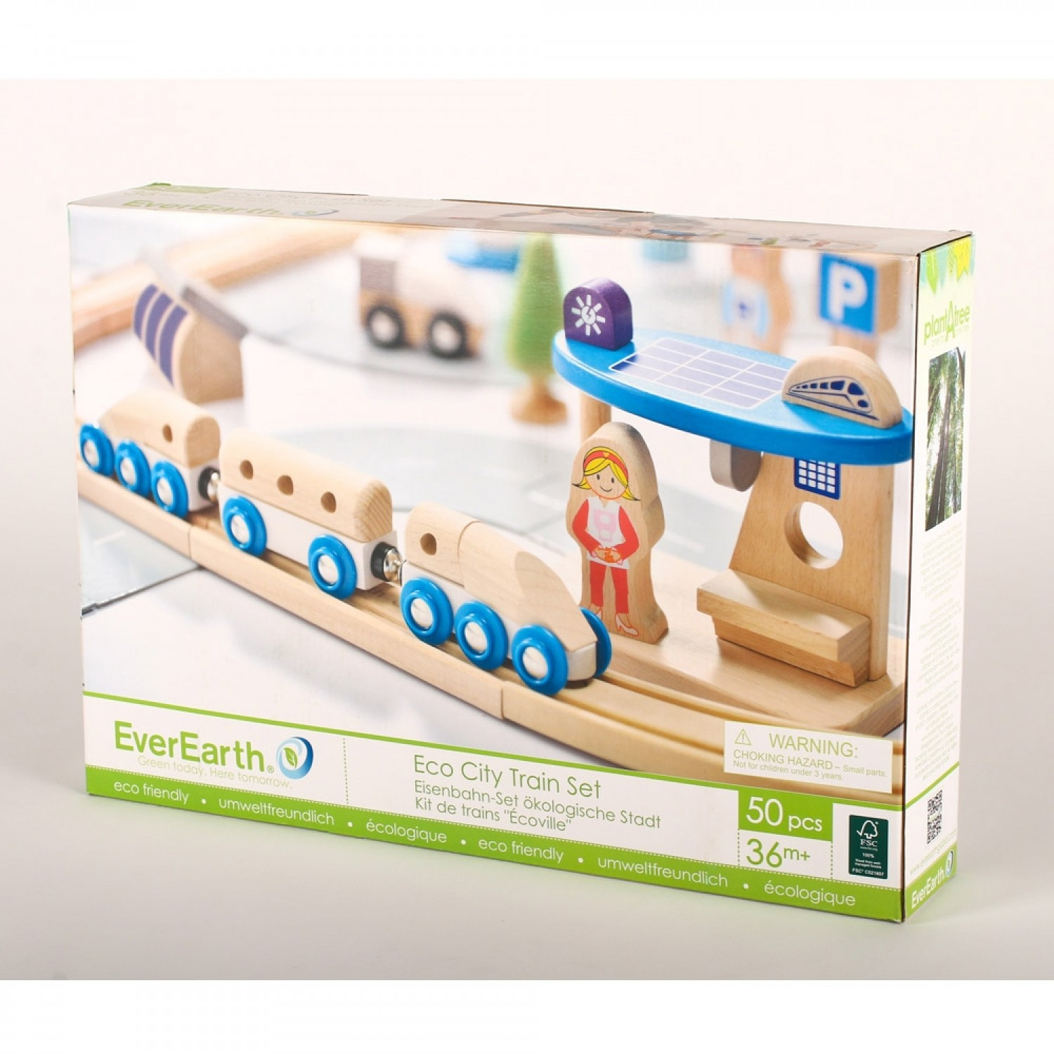 EverEarth Ecological city train set made of FSC wood