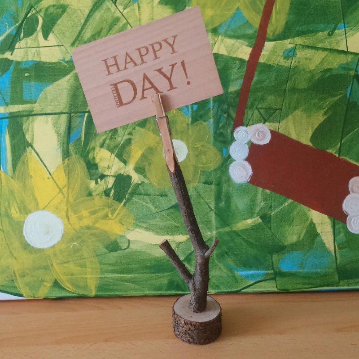 Pinch – Memohalter mit Holzpostkarte HAPPY DAY
