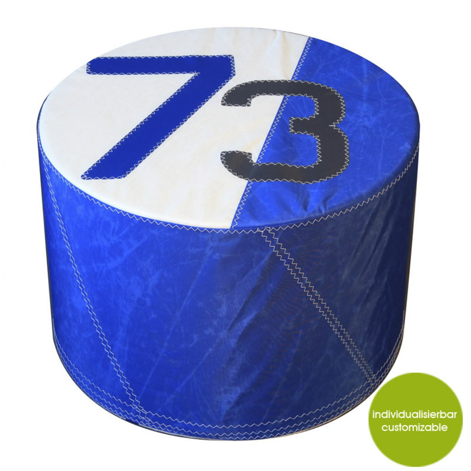Pouf »Sail Boat 73« Made Of (recycled Or New) Canvas, Blue U2013 Customizable