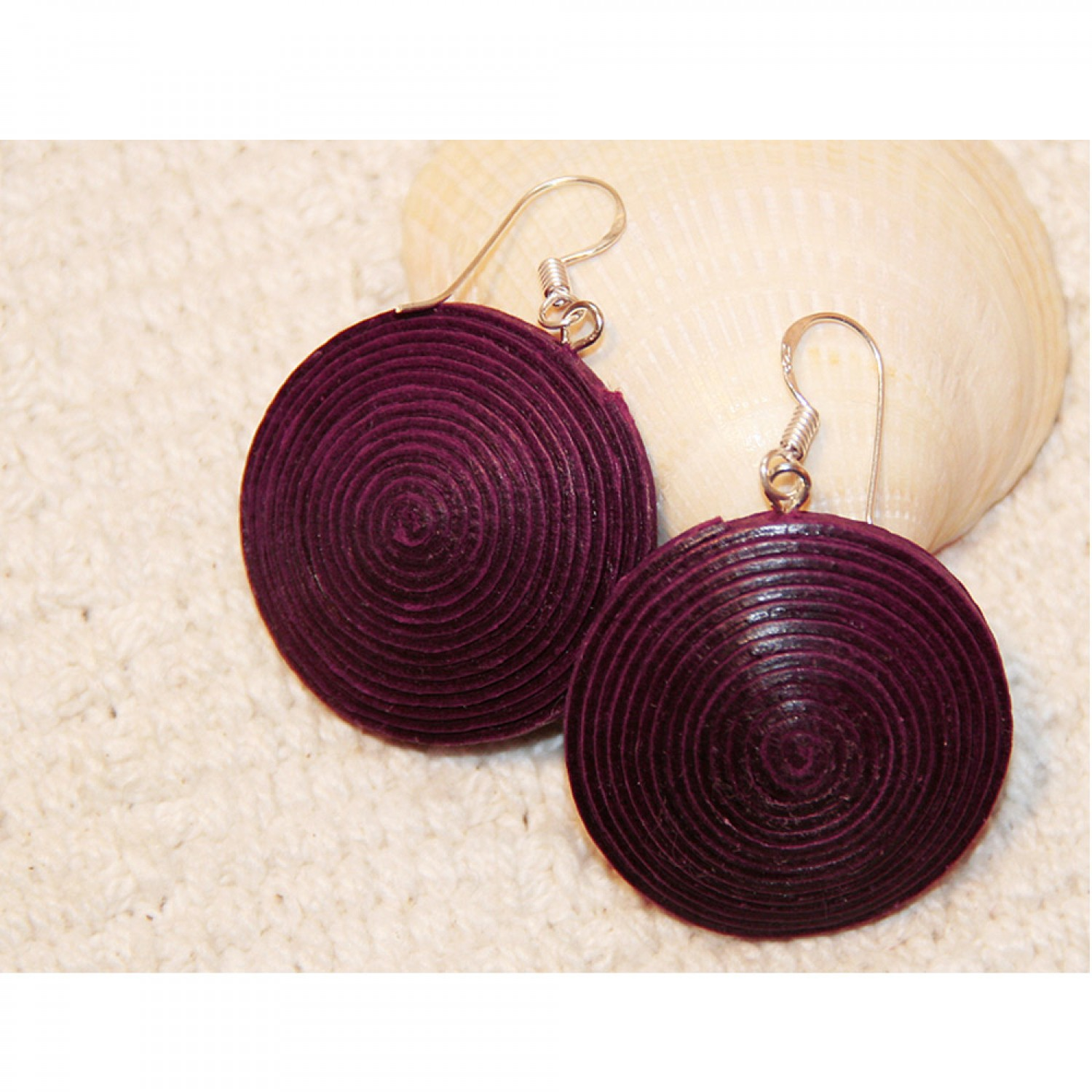 Fair Trade Paper Disc Earrings - plum | Sundara Paper Art