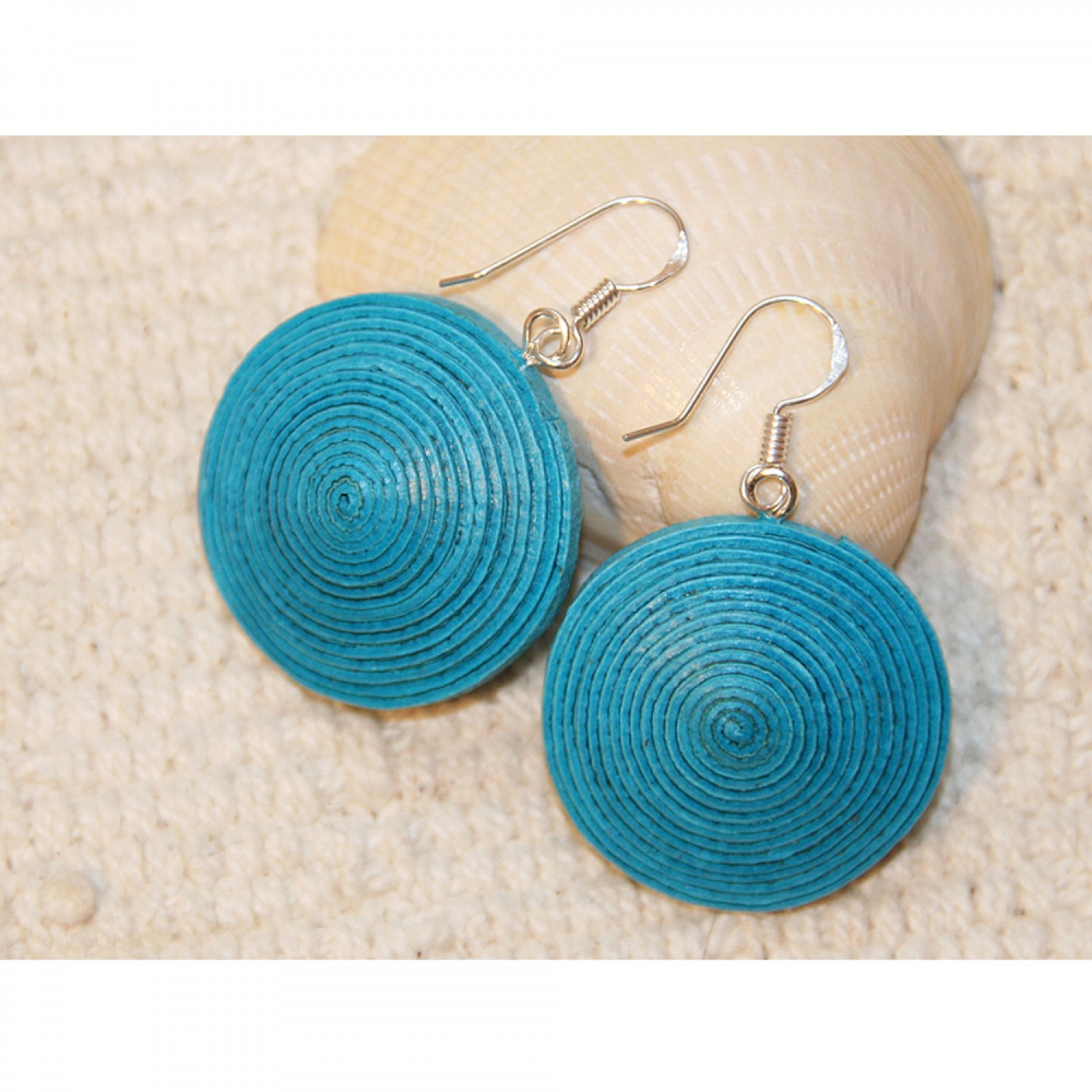 Disc Earrings made of eco paper - turquoise
