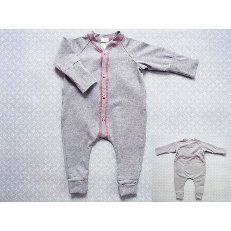 Bio Baby Schlafoverall in Grau aus Bio-Baumwolle | Ulalue