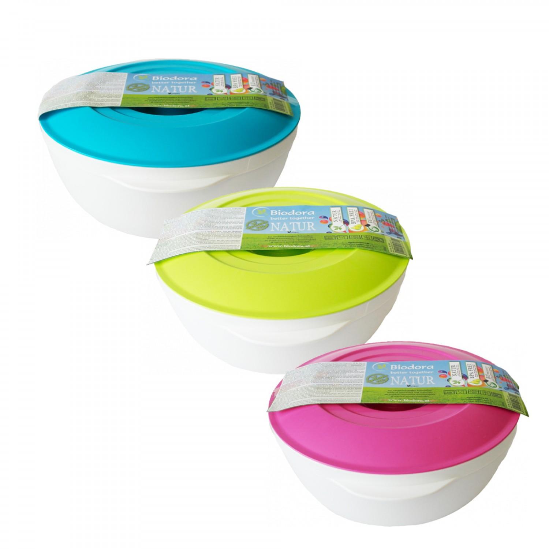 Bioplastic bowl with colourful lid 2 L | Biodora