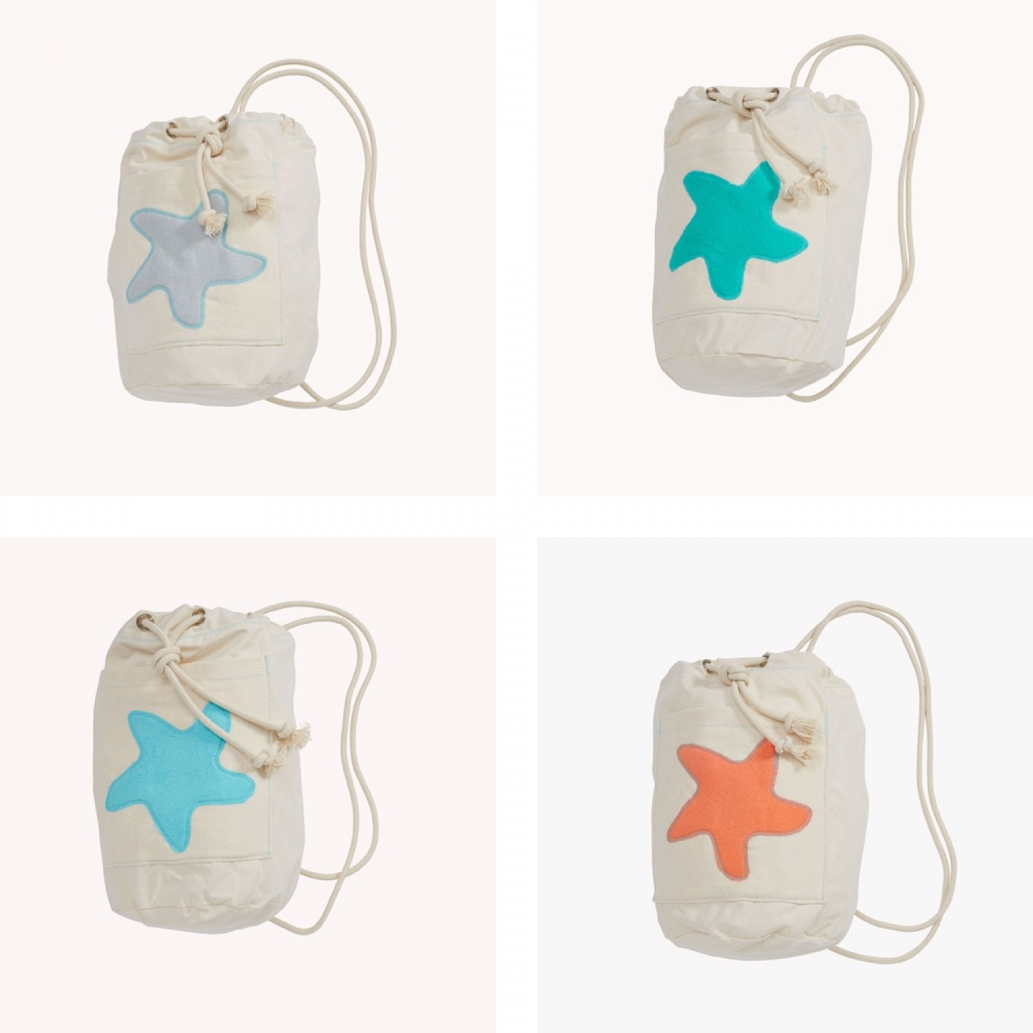early fish Sea Bag with Starfish, GOTS Organic Cotton