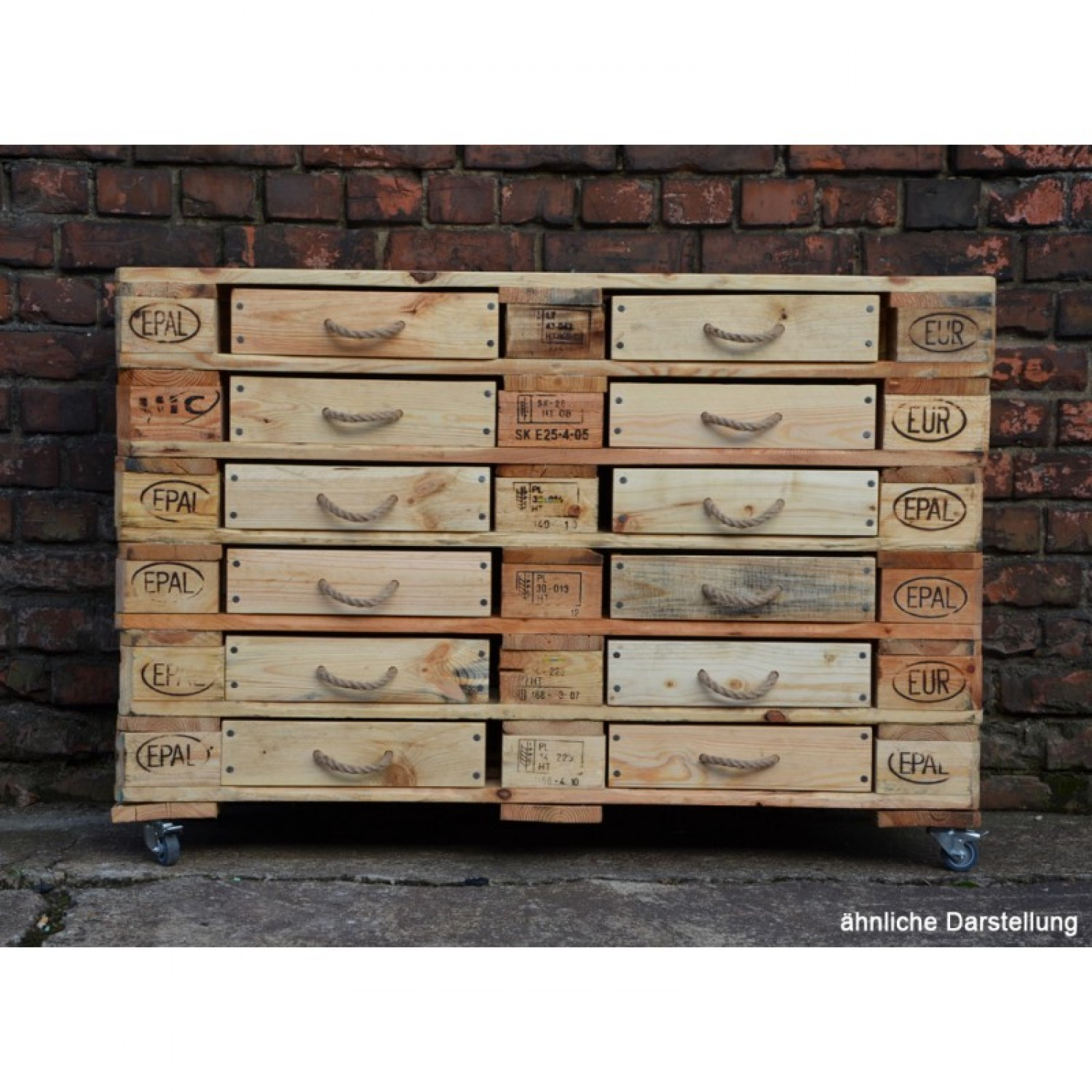 Sideboard Of Upcycled Europallets With 12 Drawers Greenpicks