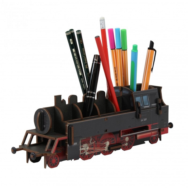 Eco Pencil Holder Steam Engine of MDF board | Werkhaus