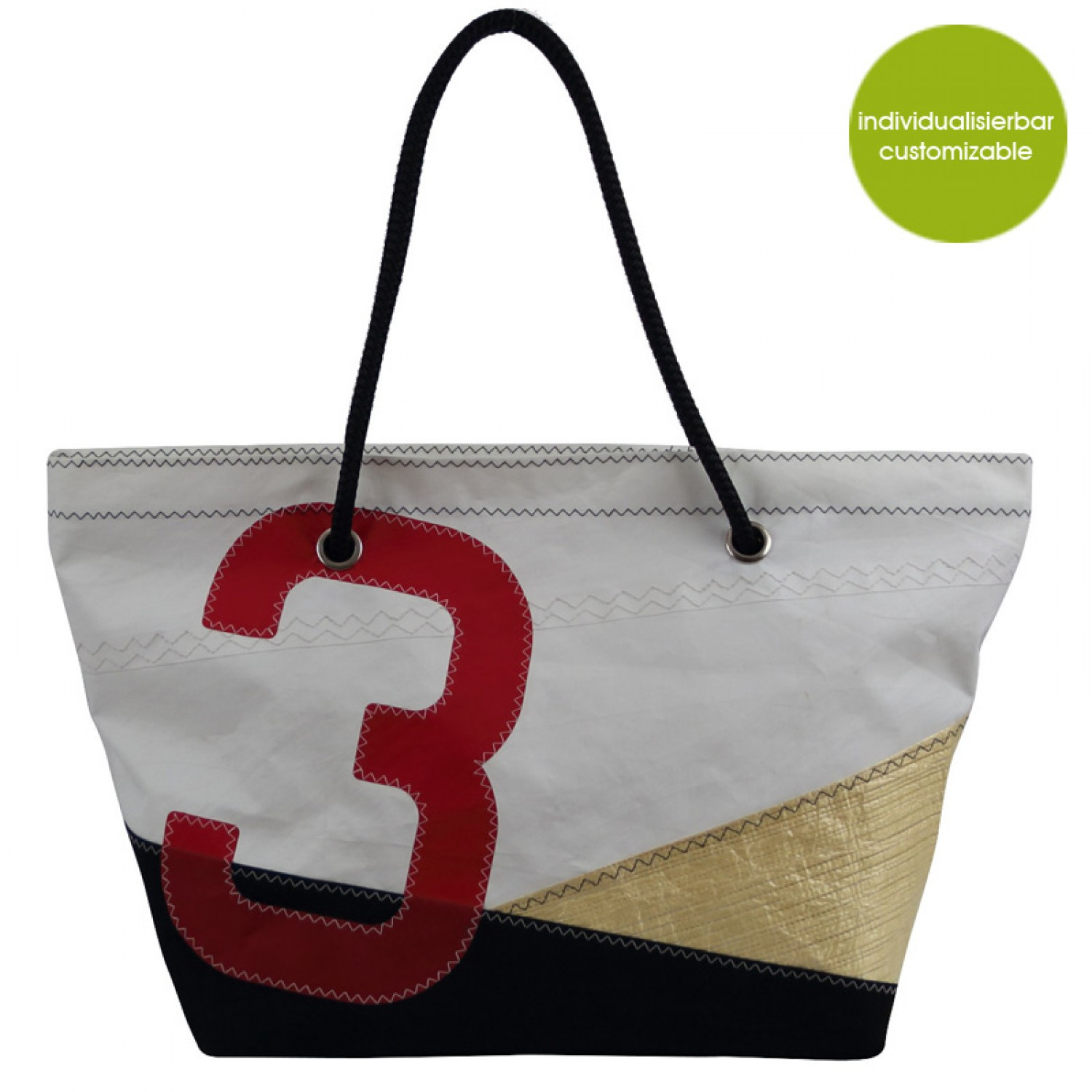 4812ebb51fa052 Beach Bag »Sail Boat 3« made of recycled sailcloth or new canvas –  customizable
