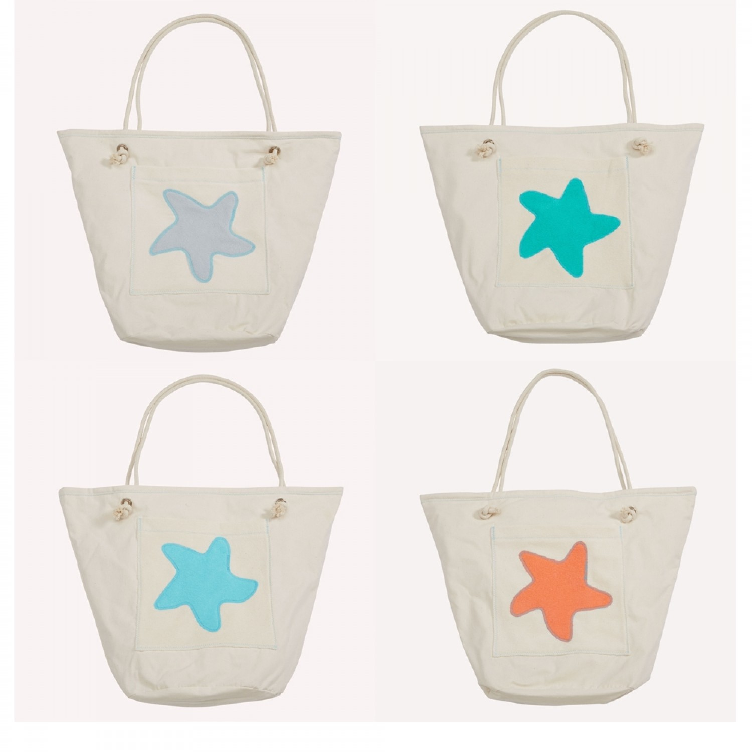 early fish Eco Beach Bag with Starfish, Organic Cotton