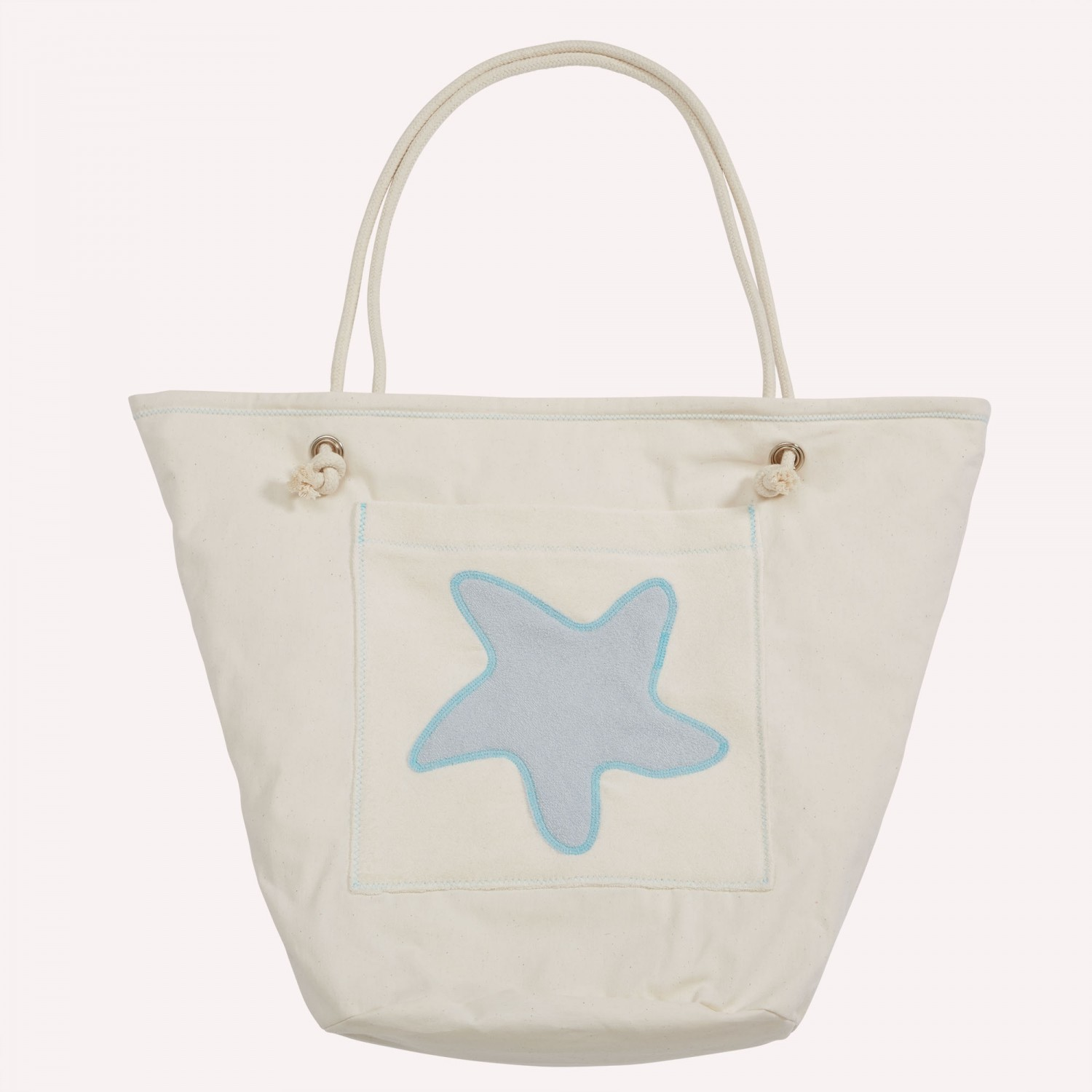 early fish Eco Beach Bag, Light Grey, with Starfish, Light Grey, Organic Cotton