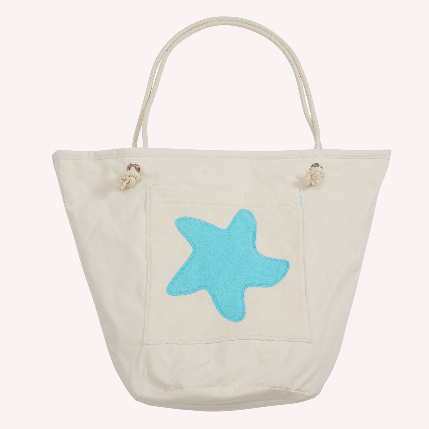 early fish Eco Beach Bag, Sea Blue, with Starfish, Organic Cotton
