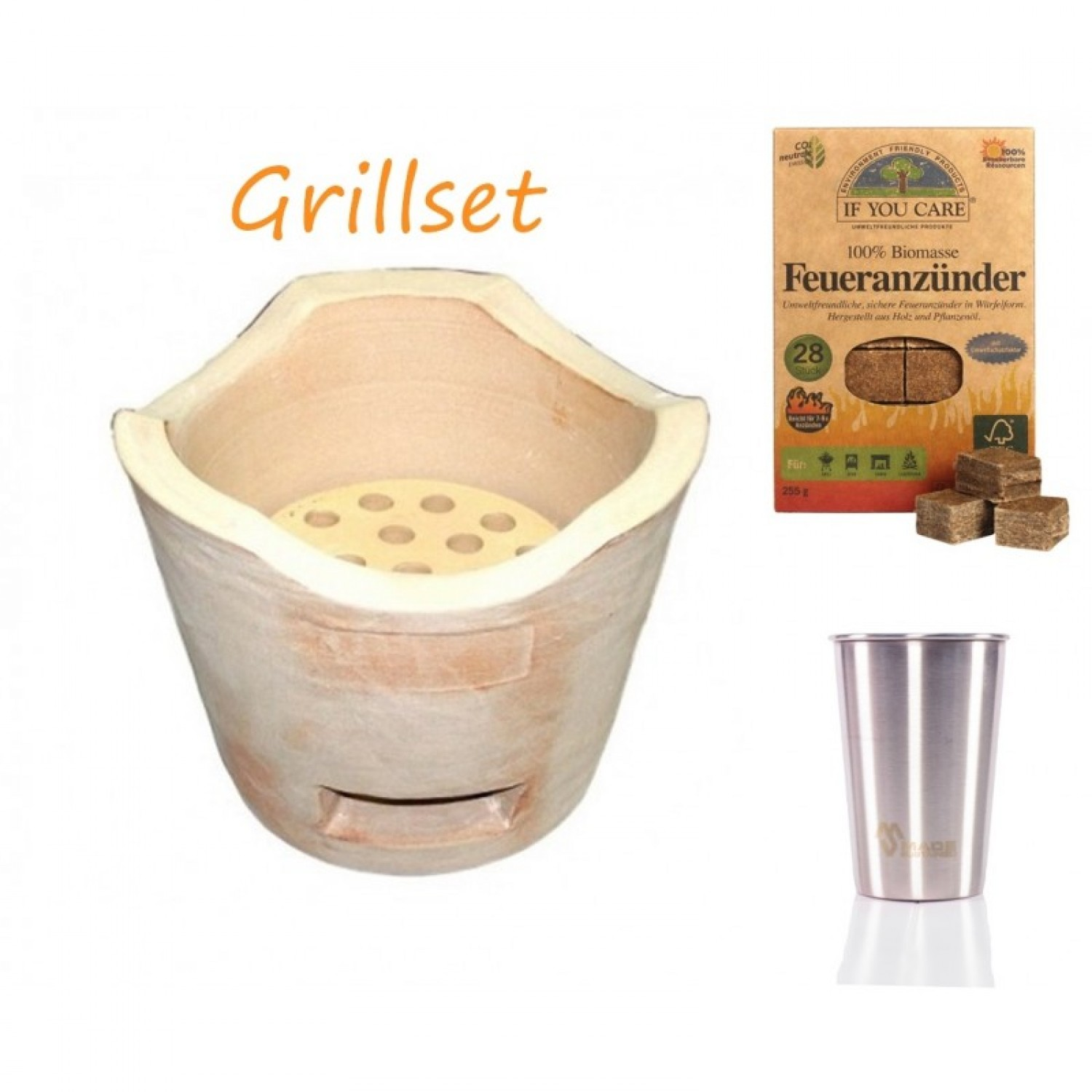 Thai Barbeque Grill Set with Firelighters and Stainless Steel Cup