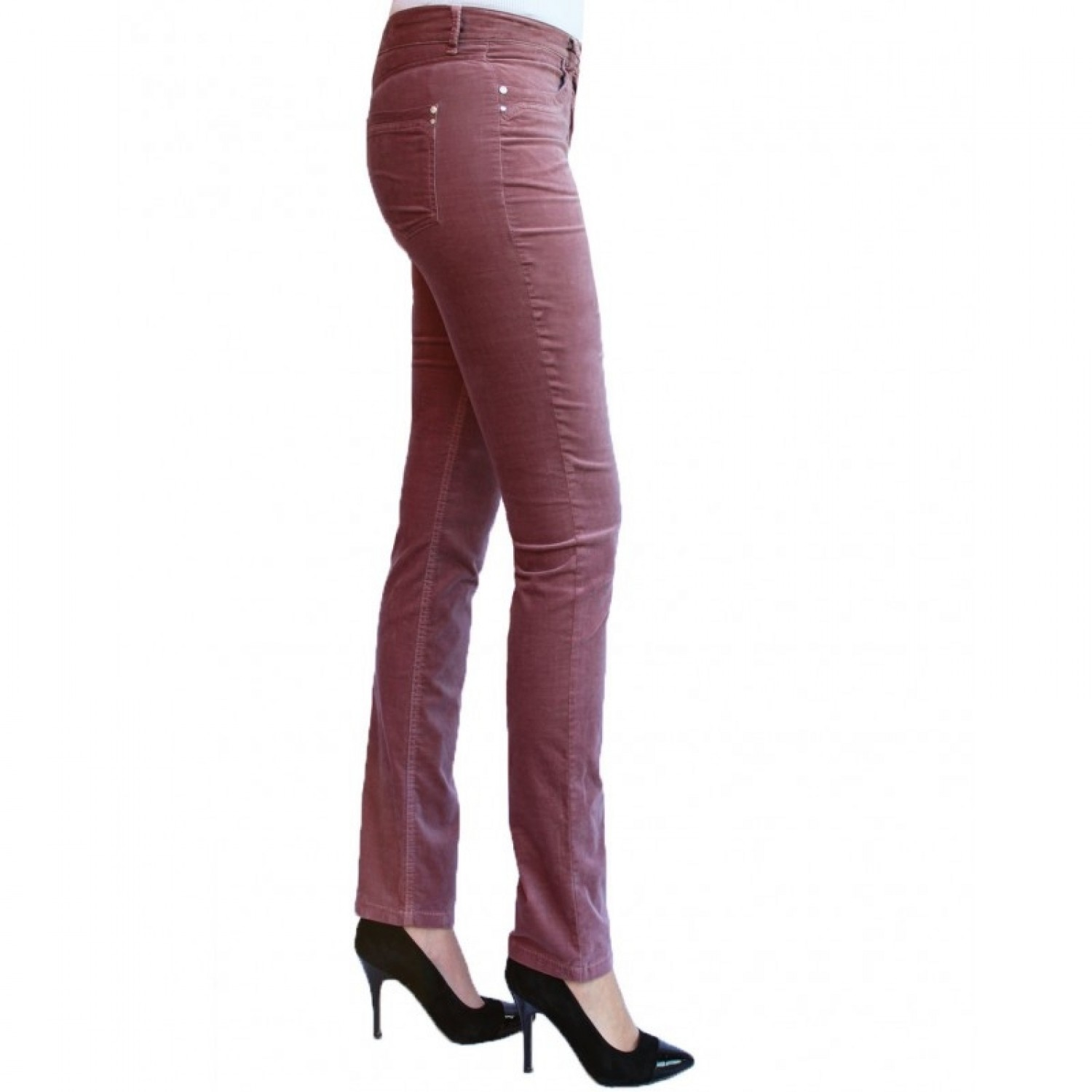 Organic Cotton Slim Fit Velvet Trousers in Rose | bloomers