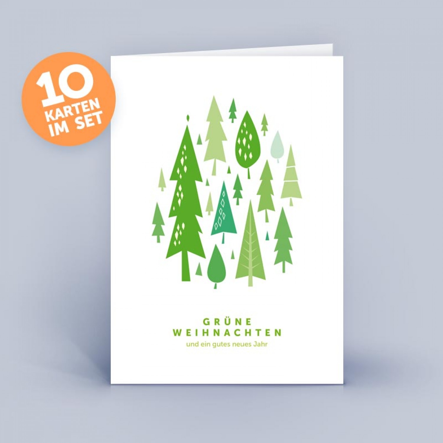Weihnachtskarten Neutral.Christmas Card Green Christmas Green Forest Set Of 10 German