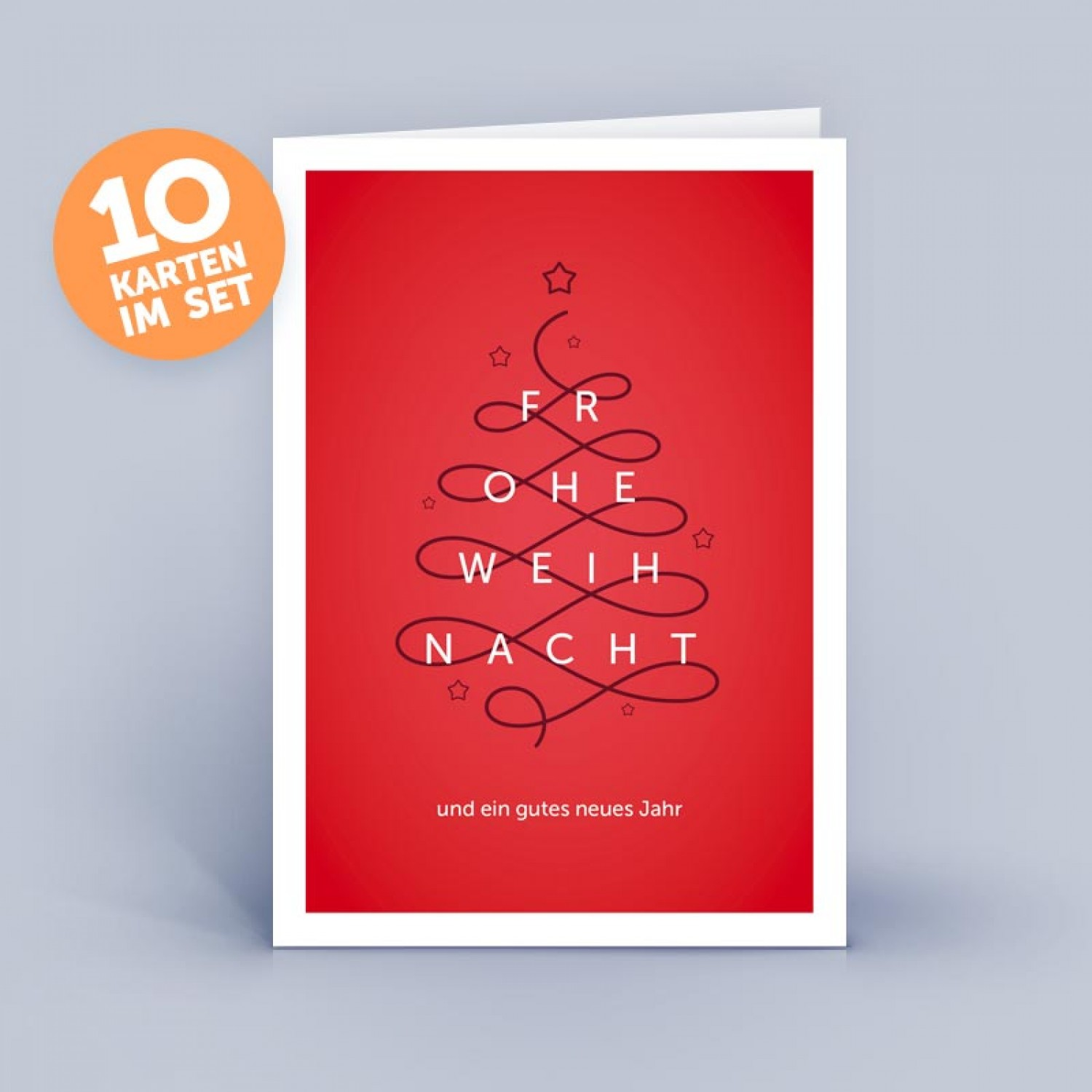 Weihnachtskarten Neutral.Christmas Card Red Christmas Tree Abstract And Noble Set Of 10 German