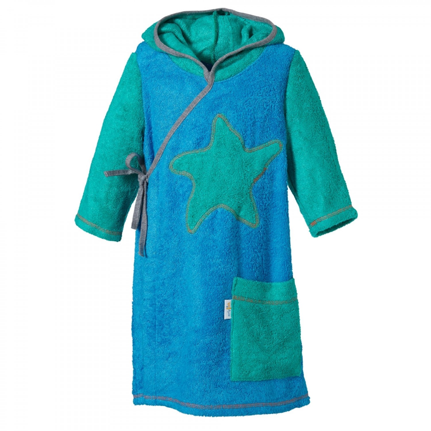 Kids Wrap Bathrobe with Hood, Eco Terrycloth | early fish