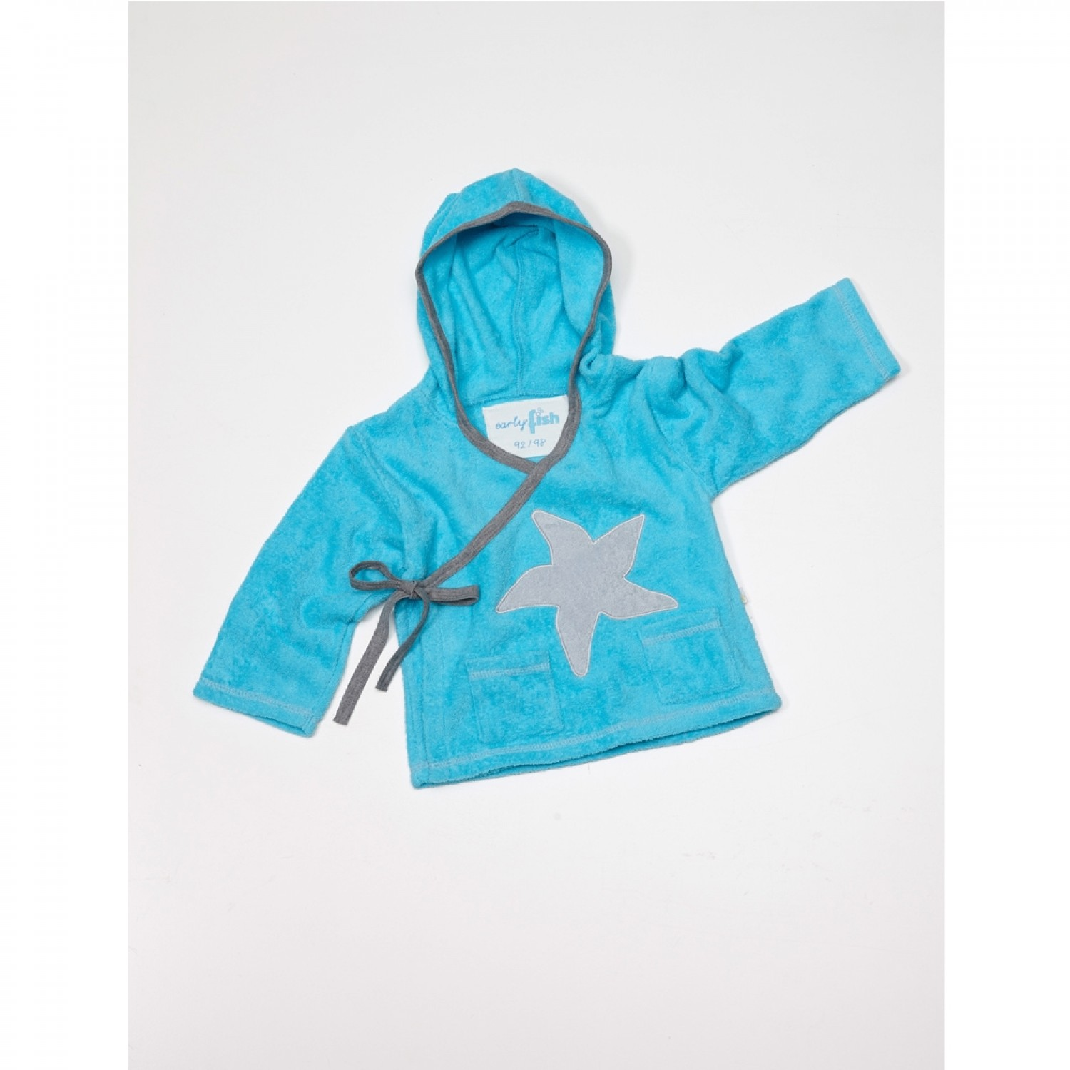 Organic Wrap Top with Hood for Kids, sea blue with starfish
