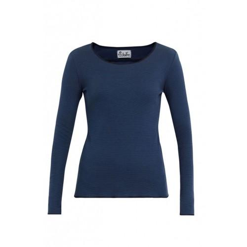 Royal Blue striped organic long-sleeved women shirt | Jalfe