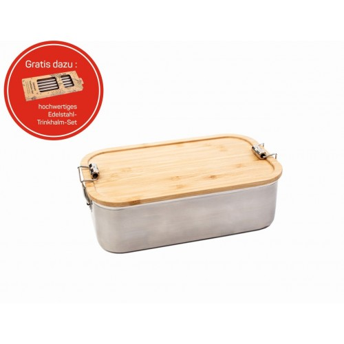 Click Jungle Picnic Stainless Steel Lunch Box with Bamboo Cutting Board Lid » Tindobo