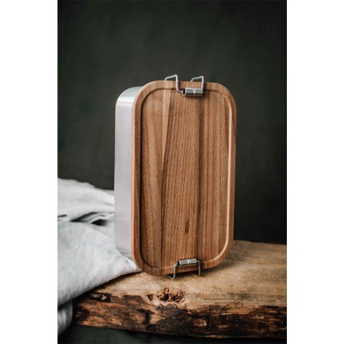 Stainless Steel Lunchbox Click Picnic + beechwood cutting board lid » Tindobo