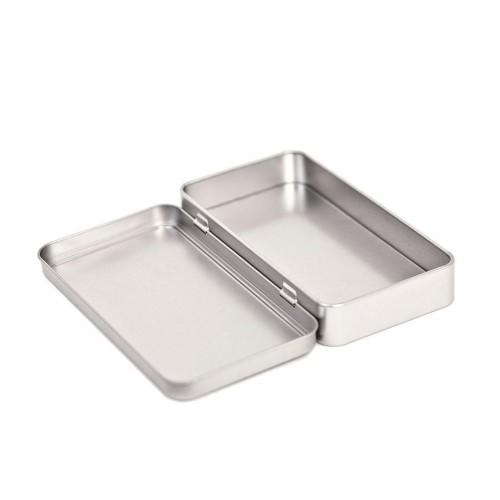 Silver Rectangular Hinged Lid Storage Tin 150x80x27 mm » Tindobo