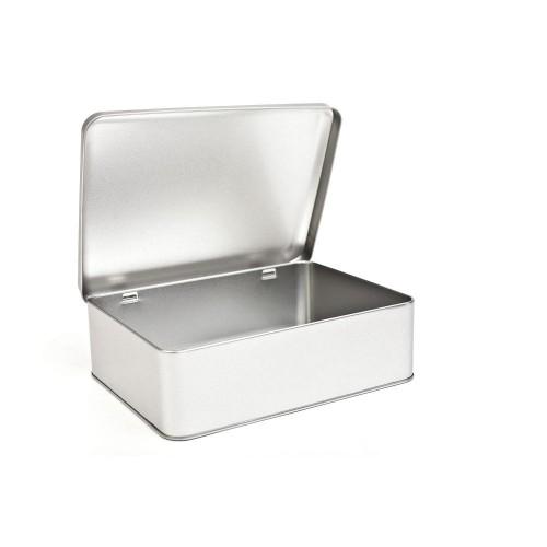 Silver Biscuit Storage Tin, hinged lid 80 oz » Tindobo