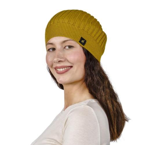 Baby Alpaca Unisex Beanie Paris, One Size, yellow   AlpacaOne