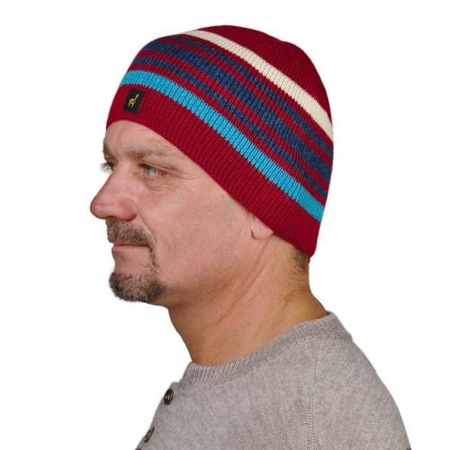 Unisex Beanie Norway, 100% Baby Alpaca, striped knit hat, red