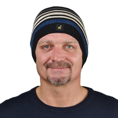Unisex Beanie Norway, 100% Baby Alpaca, striped knit hat, black