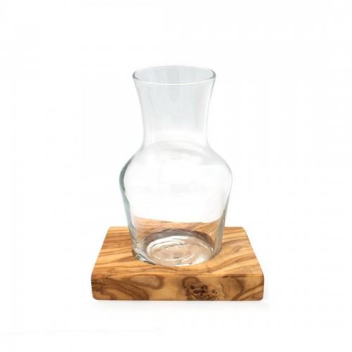 Glass Carafe BONSOIR on Olive Wood Base » D.O.M.