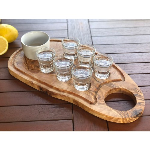 Shot Glasses Serving Board Olive Wood » D.O.M.